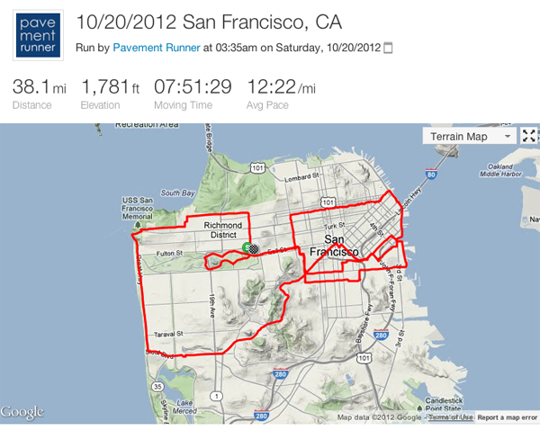 October: 38 mile training run to celebrate a friend's 38th birthday.