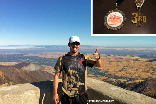 September: Mt. Diablo Marathon (+6k total elevation gain) — photo at the summit. First time placing in my age group.