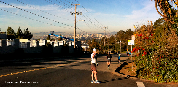 The highest point of the Oakland Marathon – look at that view (and that steep decline!)
