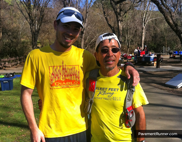 """Me and Kuni (the """"other"""" man in the yellow shirt). He finished 45 seconds in front of me, but kept me going the last 3 miles."""