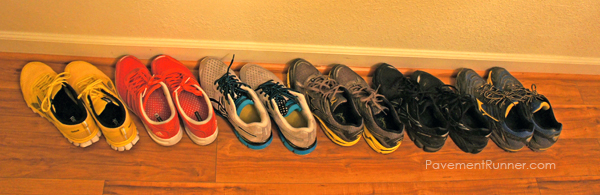 (L to R) Reebok, Adidas, Asics, Mizuno, Asics, Mizuno. Not shown: Saucony (2 pairs), I keep those at work for #RUNch