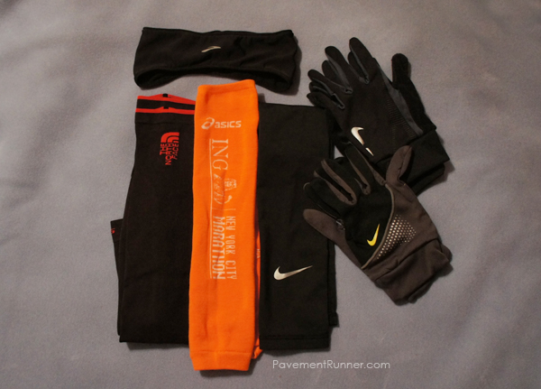 (L to R) Brooks Ear Warmers, North Face Arm Warmers, INGNYC Arm Warmers, Nike Arm Warmers, Nike Gloves (2)