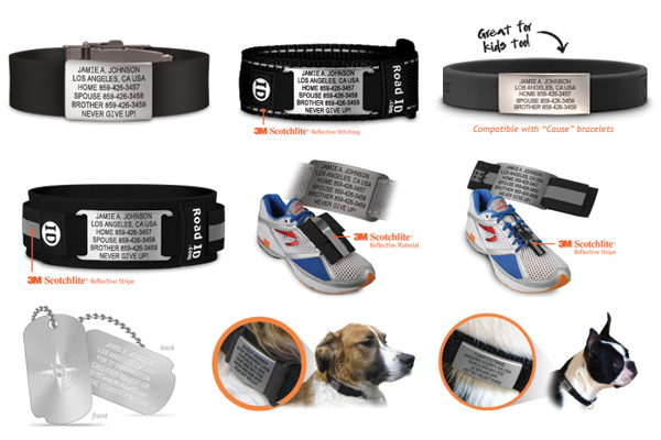 Top: Wrist ID: Elite, Sport, Slim. Middle: Ankle ID, Shoe Pouch, Shoe ID. Bottom: Fixx ID, Scout ID: large, small
