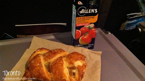 And enjoyed a Canadian breakfast: Allen's apple juice and a pastry from Loblaws.