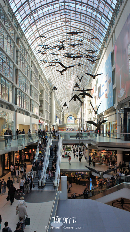 The Eaton Centre, Toronto's largest galleria (mall). 6 stories, glass ceiling, 285+ retailers.
