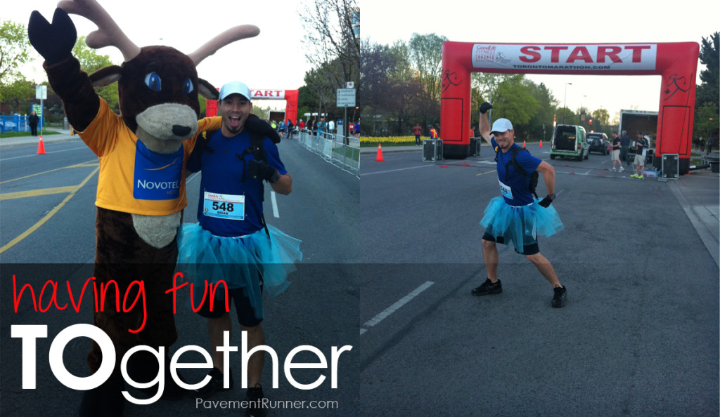 Some fun at the start line! Oh ya, I'm wearing a tutu. In part to keep it fun, in part for Boston, but mostly because Krysten asked nicely... several times.