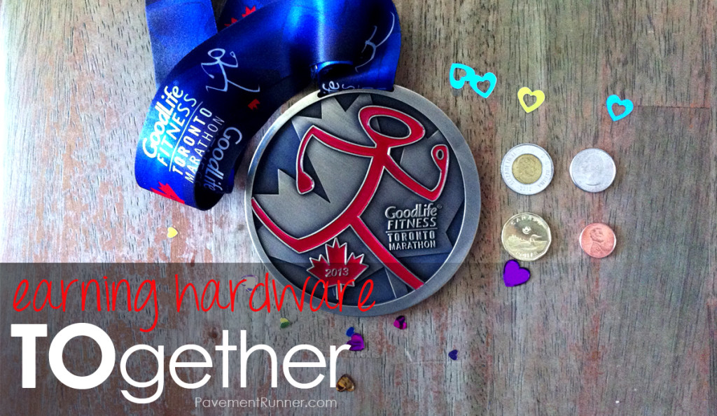 Toronto Marathon (2013) Finisher's Medal. For scale: Canadian and US coins.