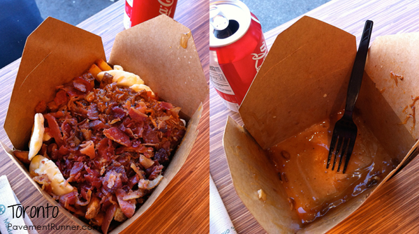 After the race, tried Smoke's Poutine (fries, gravy, cheese curds). Double Pork: Chipotle Pulled Pork, Double-smoked Bacon