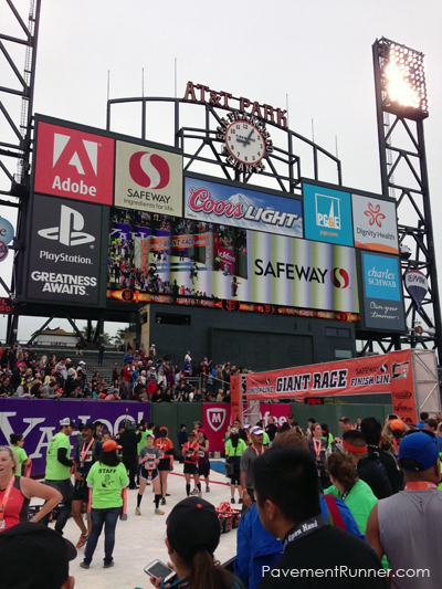 Finish line on the field. Video on the big screen.