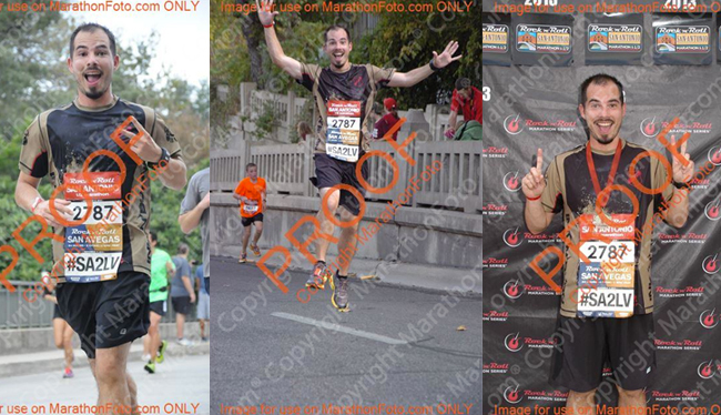 "Left-to-right - classic ""peace"" shot, jumping for joy (although kid in back doesn't look joyful) and at the finish line flashing ""1 of 2"" done."