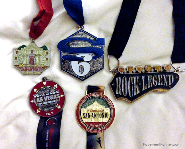 San Antonio Half, Heavy Medal #6, Heavy Medal #7 (Rock Legend), Las Vegas Full (glows in the dark) and commemorative #SA2LV medal (it spins with LV on the other side).