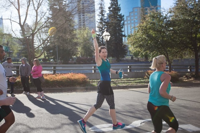 Mid-race when I PR'd my half marathon time with a 1:53:43 at the Shamrock'n Half Marathon in Sacramento. http://reasontoplay.blogspot.com