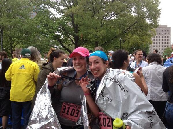 Finish of my First Half Marathon (United Healthcare Half, Providence, RI May 2013).  Me on the left, my sister on the right (her third half). — https://twitter.com/MetalStar13