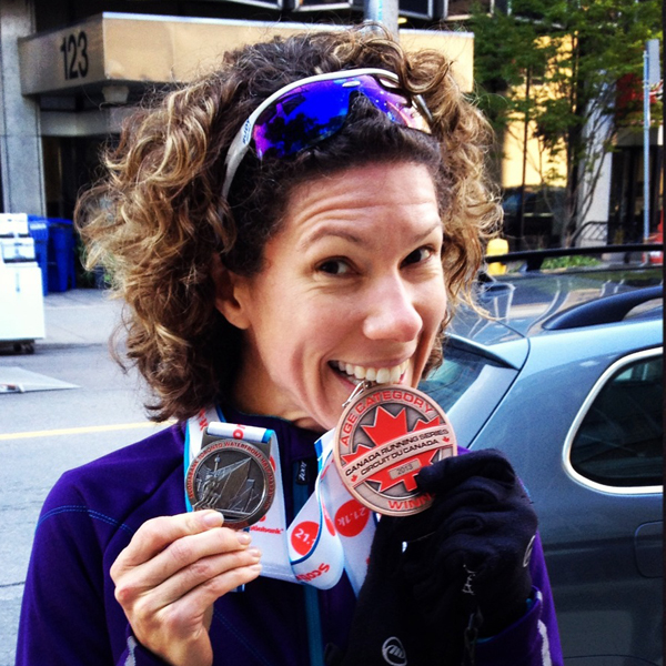 Voila.  This was from the Scotiabank Half marathon in October of this year.  I crushed my sub 1:30 time goal and got on the podium as 3rd place Masters Female.  :) http://blistersandblacktoenails.blogspot.com/