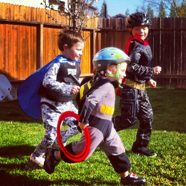I love this photo because my three boys are my little super heroes.  They are always on the go seeking their next big adventure.  These little boys keep me active and on my toes.  — www.runningrachel.com