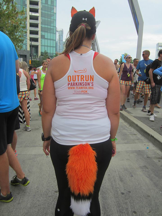 Running my races (including my first full marathon) wearing a fox tail and ears in support of Team Fox...what does the fox say? — http://simplybeme.com