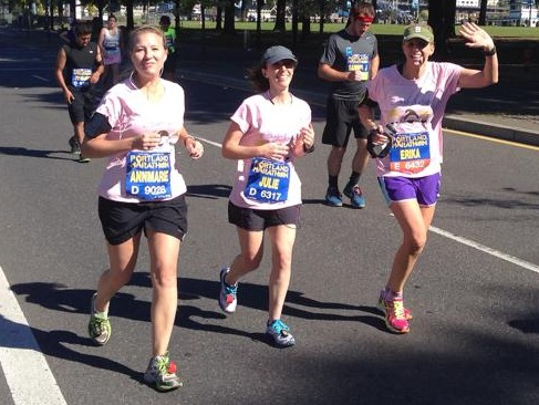 Love this picture because it shows my buddies pacing me to my first marathon finish line!  — http://tri-ingtobeathletic.com