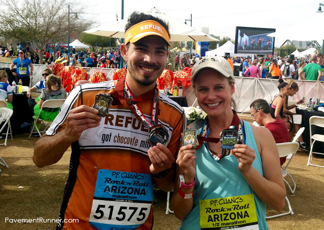 With Andrea Barber, rocking our finisher and Desert Double Down medals.