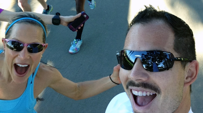 Me and @StuftMama at the LA Marathon on a shakeout run - come selfie with us!