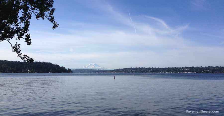 Lake Washington with Mount Rainier in the background.