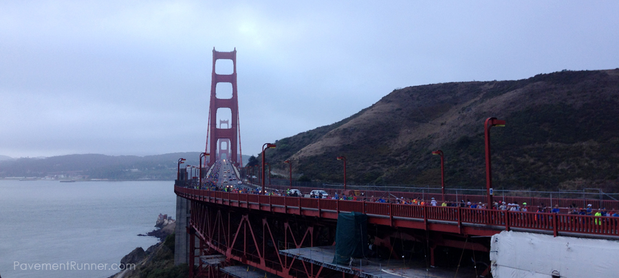 View from the Marin side of the Golden Gate Bridge (look at the far left lane, see the runners?)