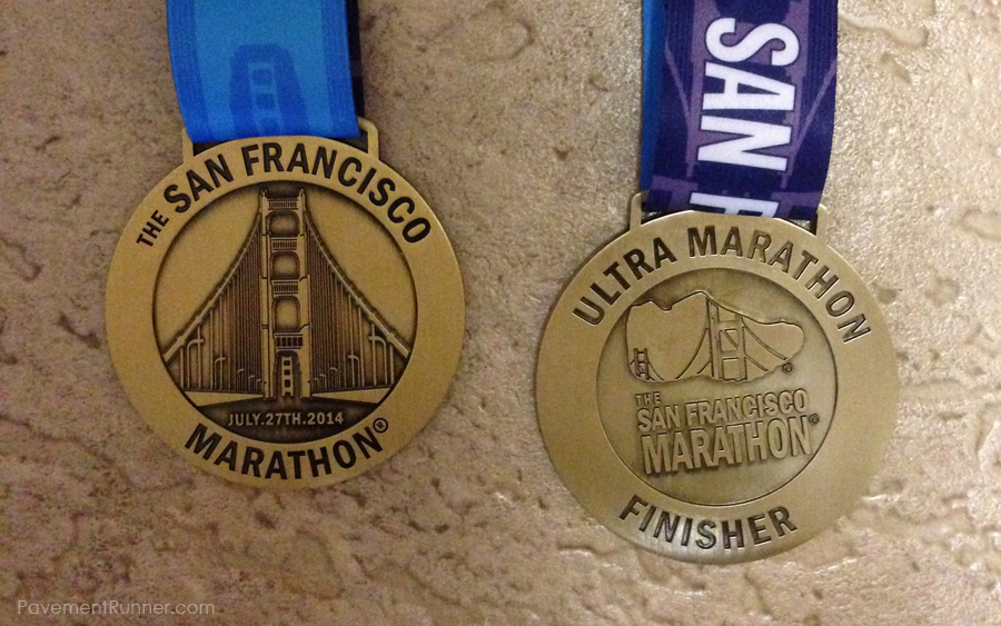 (left) Marathon Finisher's medal (right) Ultra Finisher's Medal