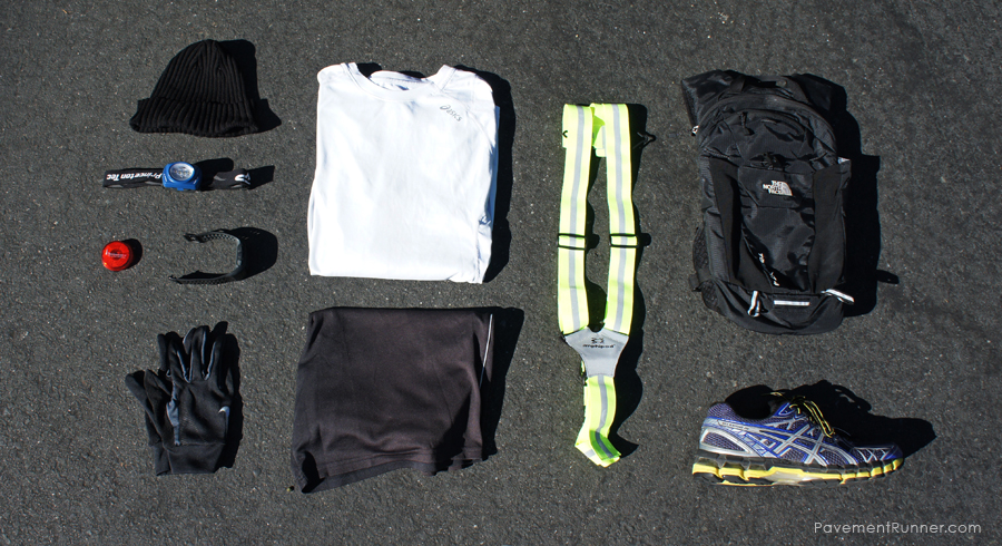 Beanie, Asics shirt, Nike gloves, North Face hydration pack, Asics Kayanos, safety/visibility gear