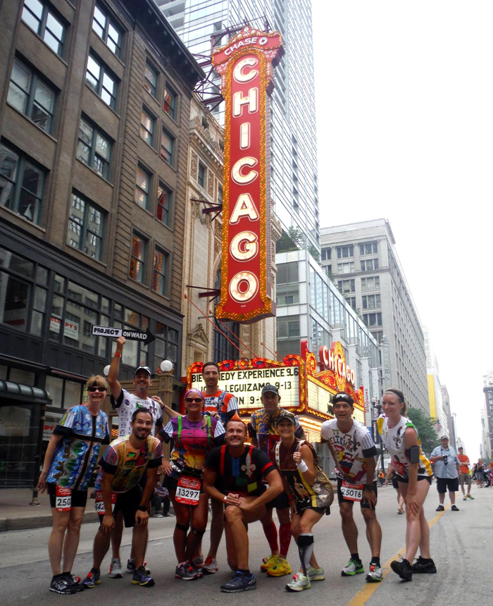 Team photo in front of The Chicago Theatre.