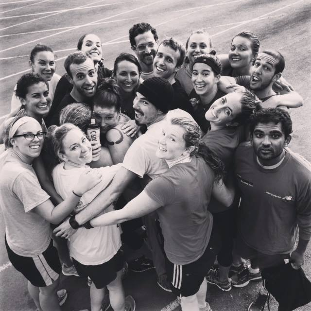 Post-run group hug!