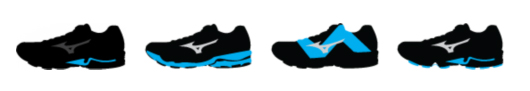 Mizuno Wave, U4ic midsole, Dynamotion Fit, SmoothRide heel to toe.