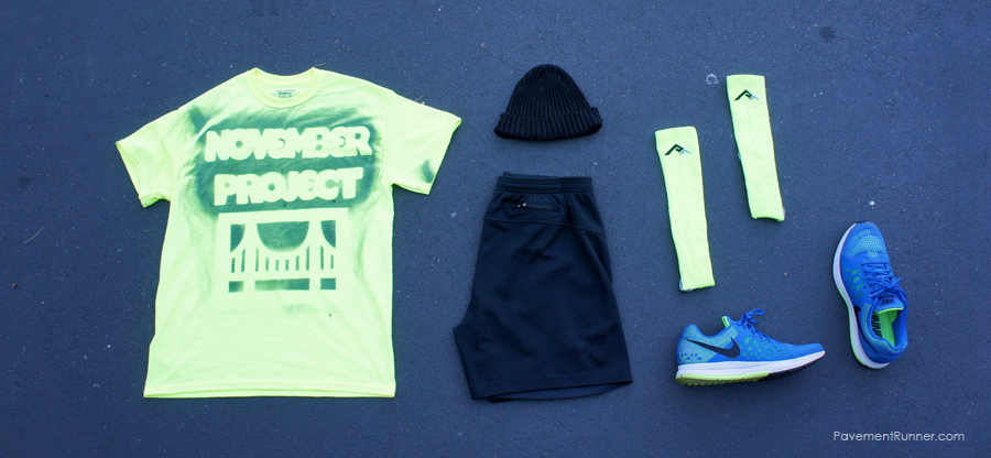 November Project SF grassroots gear, PRO Compression socks, Nike Pegasus 31