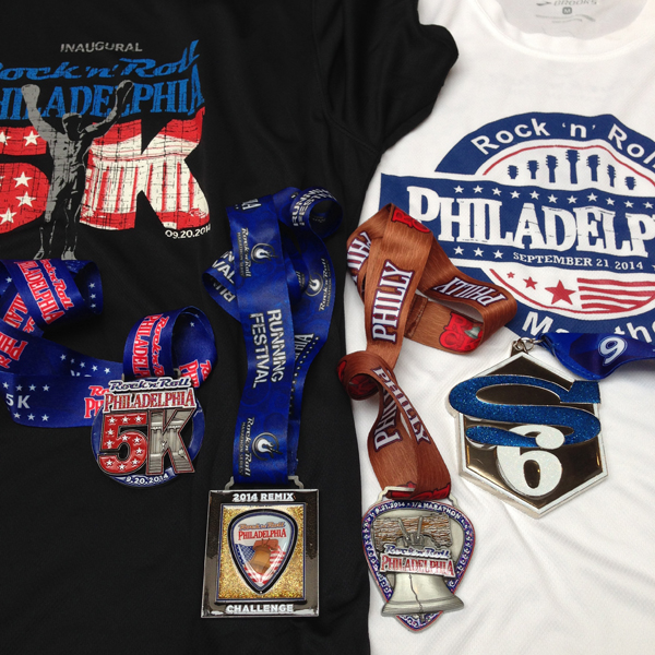 Left to right: 5K Medal, Remix Medal for doing 5K and Half, Half Medal, Super 6 for 6 RnR events (not including 5Ks).