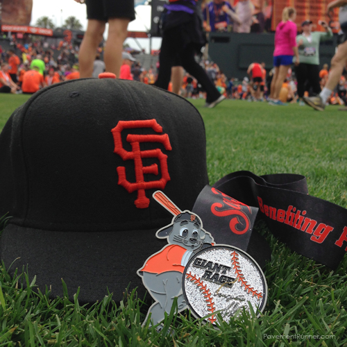 On field finish, with Lou Seal (the Giants mascot) on the medal, along with Matt Cain's signature.