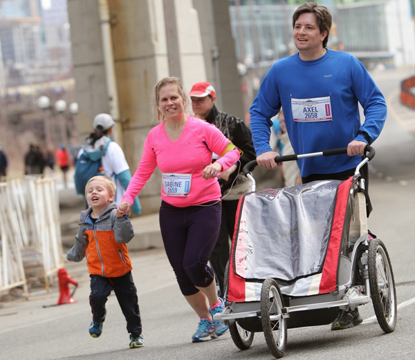We did the Yonge St 10k as a family.  2014 will probably be the last year we can run with the stroller... http://ironrogue.blogspot.com