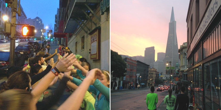Left: California Street in the background, cheer tunnel like a boss. Right: The walk to coffee with an amazing sun rise.