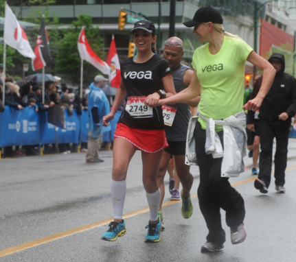 When RunEmz flew from Phoenix, AZ to Vancouver, BC to surprise me at the BMO Vancouver Marathon and run the last 6 miles of my race with me. http://www.theathletarian.com