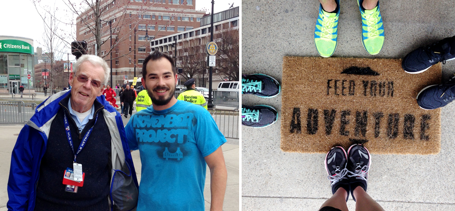 Left: with Peter Gammonds outside of Fenway. Right: 3-mile run with CLIF team