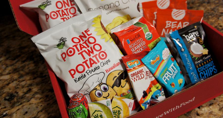 Hawaiin BBQ chips (gluten-free), Banana Chips (vegan, gluten-feee, non-GMO), Fruit snacks (non-GMO, organic), Fruit strips (Gluten-free, vegan), Gum pos (gluten free, non-GMO), and MORE